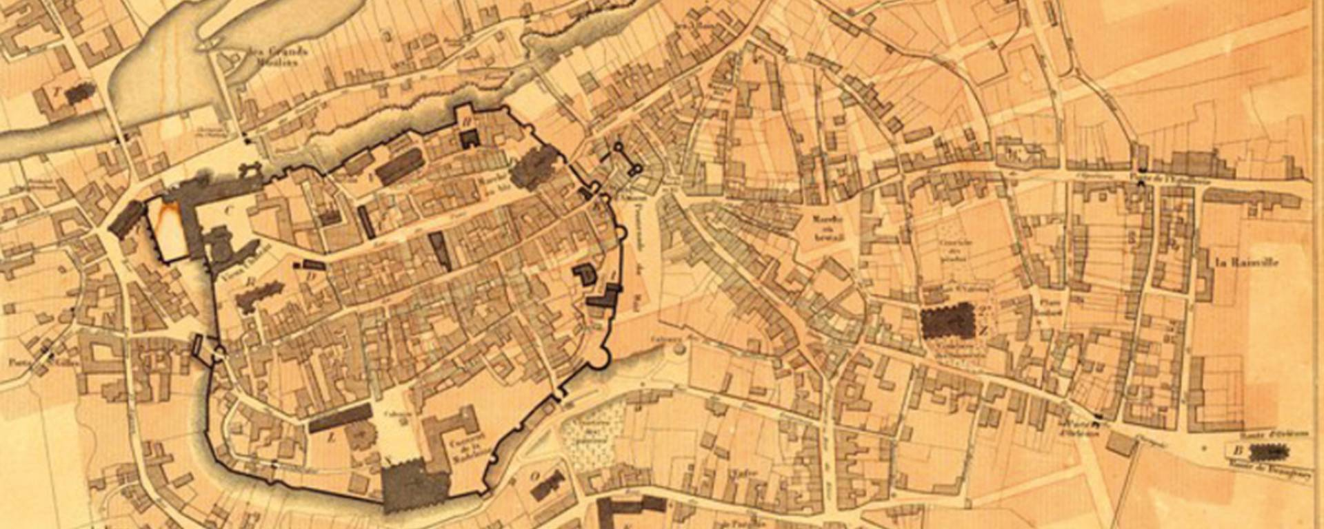 Plan of Châteaudun before the fire of 1723